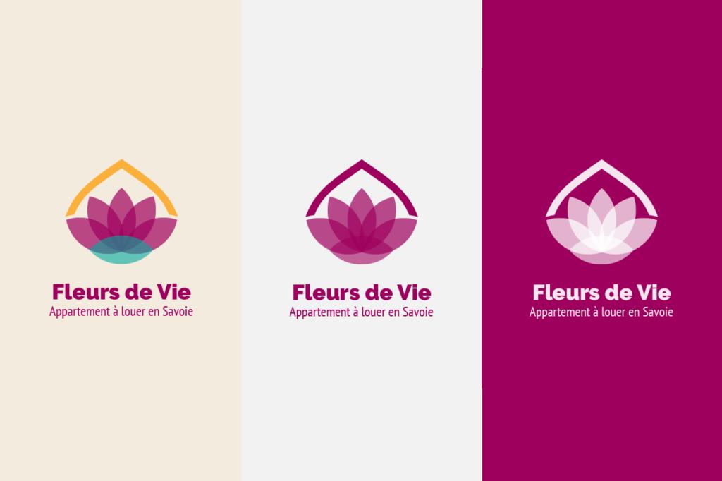 Déclinaison du logo de l'entreprise fleurs de vie