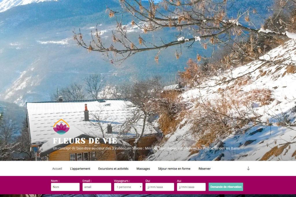 page d'accueil du site internet fleurs de vie, avec un formulaire personnalisé et une charte graphique cohérente