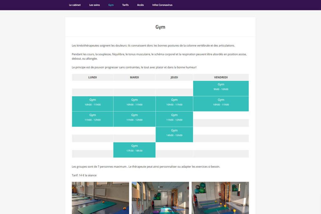 Page de site avec un calendrier