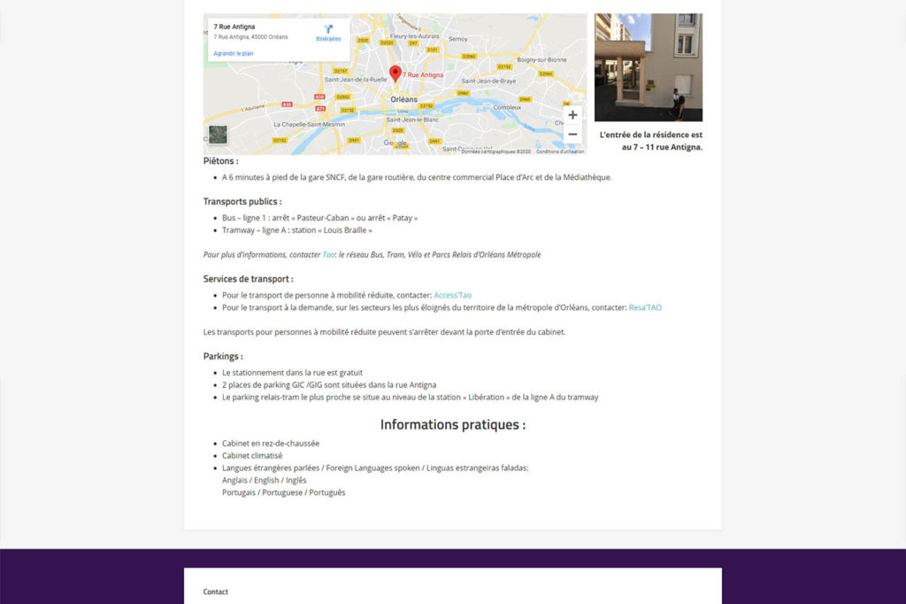page d'accès pour un site vitrine